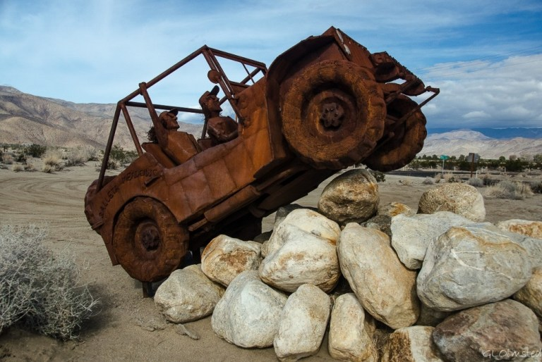1946 Willys Jeep metal sculpture by Ricardo Breceda Galleta Meadows Borrego Springs California