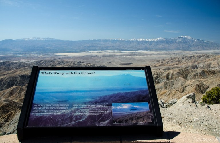 Interpretive sign, Coachella Valley, Santa Rosa & San Jacinto Mountains from Keys View Joshua Tree National Park California