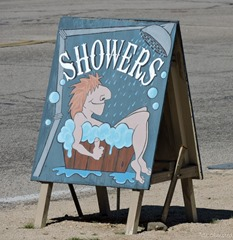 Showers sign Coyote Corner Joshua Tree California