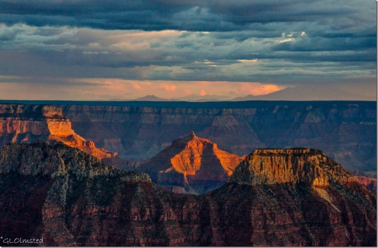 Sunset light on Angels Gate & over South Rim from Lodge North Rim Grand Canyon National Park Arizona