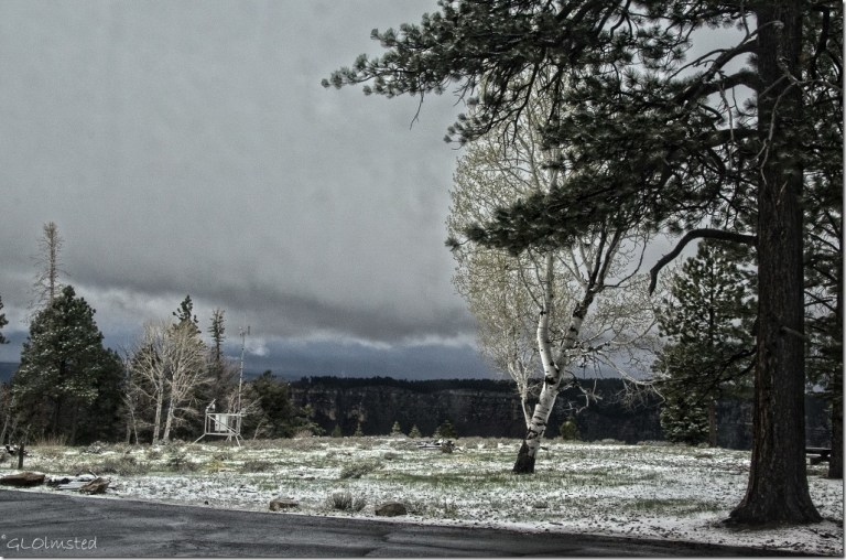 Snow & low clouds over Widforss Plateau thru RV window North Rim Grand Canyon National Park Arizona