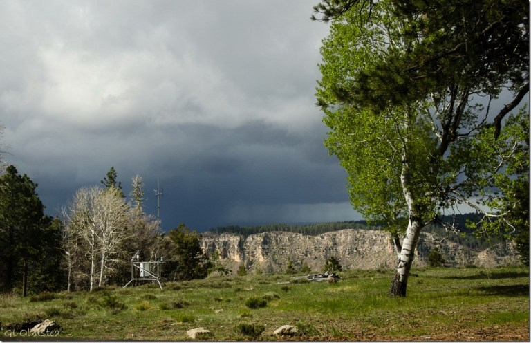 Storm clouds over canyon from RV North Rim Grand Canyon National Park Arizona