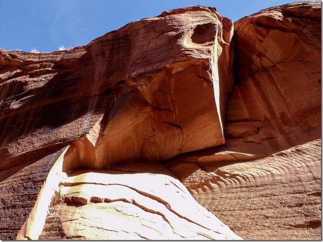 Sandstone cliff face at jct Buckskin Gulch & Wire Pass trail Grand Staircase Escalante National Monument Utah
