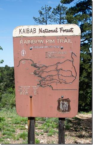 Rainbow Rim Trail sign Kaibab National Forest Arizona