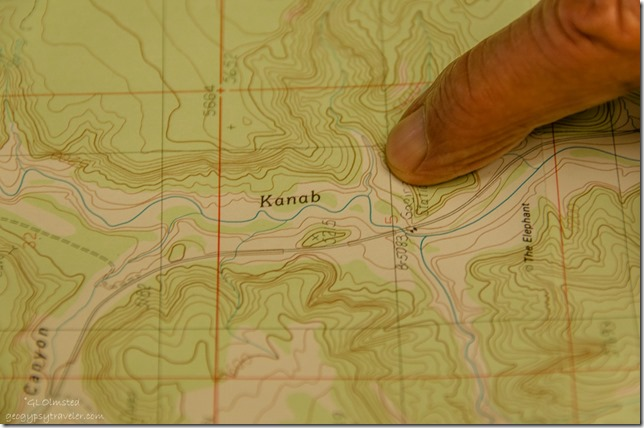 Map showing canyon hiked Kanab Utah