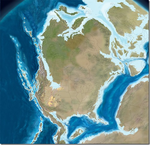 Late Jurassic 150 mya paleogeographic map North America