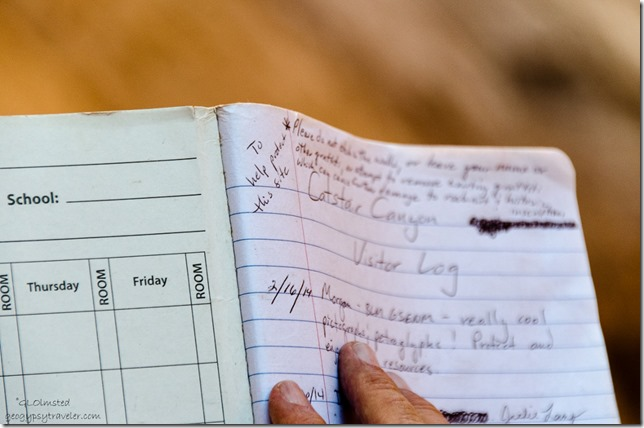 Visitor log Catstair Canyon Grand Staircase-Escalante National Monument Utah