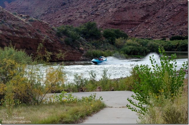 Boat on Colorado River Colorado Riverway Recreation Area Big Bend Beach campground Utah