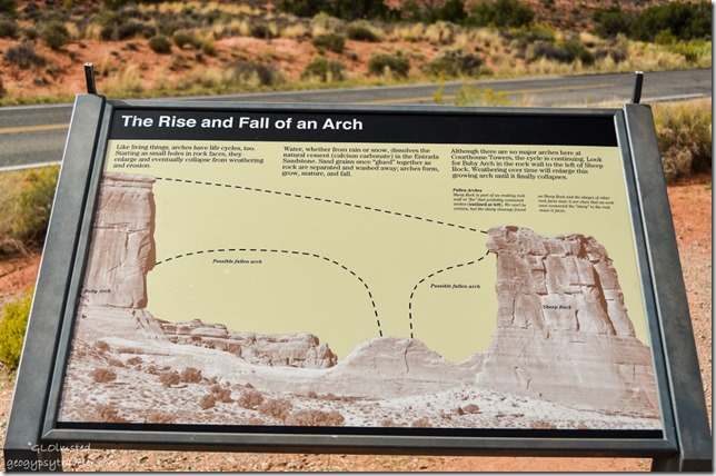 Arch interpretive sign Arches National Park Utah
