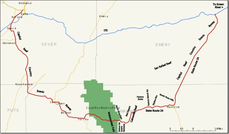 Map Capitol Reef Country Scenic Byway Utah