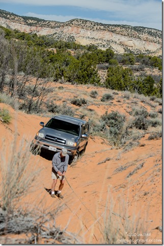 Bill with winch line Sand dune ATV trail to Peekaboo Canyon Utah