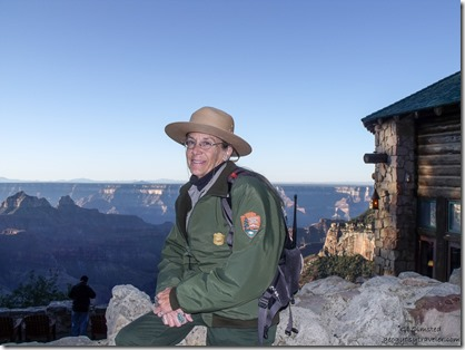 Ranger Gaelyn & morning light over canyon from Lodge North Rim Grand Canyon National Park Arizona