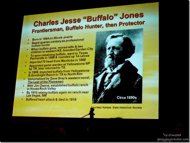 Buffalo Jones slide presented by Dick Brown at History Symposium South Rim Grand Canyon National Park Arizona
