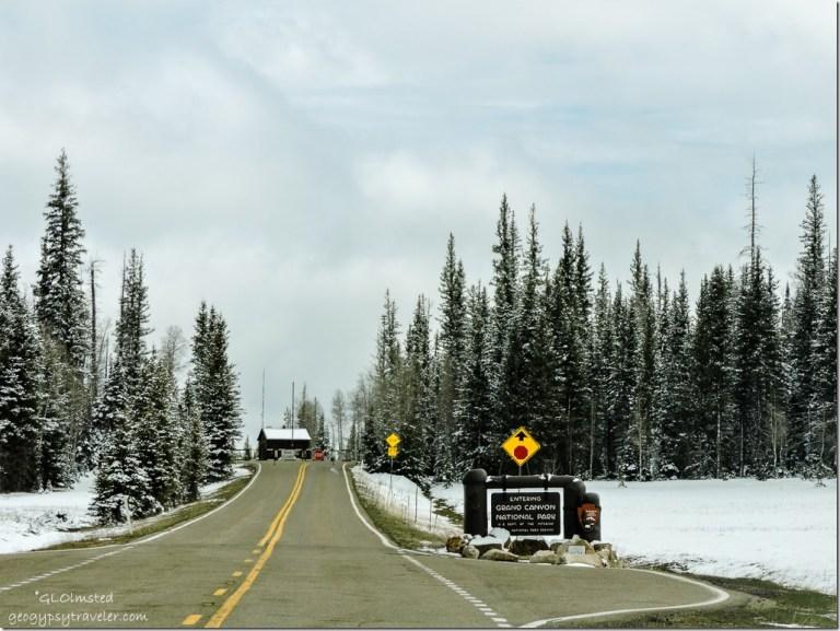 Entrance sign station snow SR67 South Kaibab National Forest Arizona