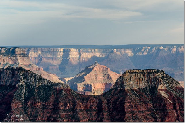 Last light on Angel's Gate from Lodge North Rim Grand Canyon National Park Arizona