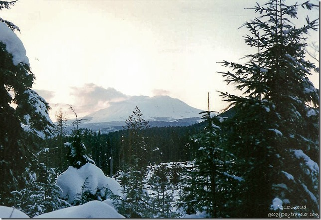 Snow covered Mt St Helens Gifford Pinchot National Forest Washington