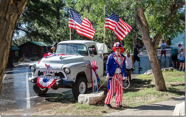 Soggy Uncle Sam 4th of July water parade North Rim Grand Canyon National Park Arizona