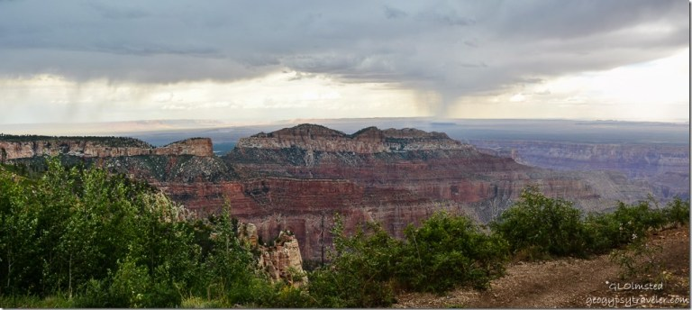 Stormy view east Saddle Mountain from Point Imperial North Rim Grand Canyon National Park Arizona