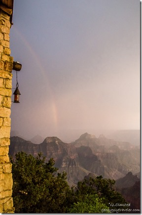 Rainbow over canyon Lodge North Rim Grand Canyon National Park Arizona