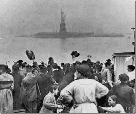 Immigrants see Statue of Liberty New York Harbor