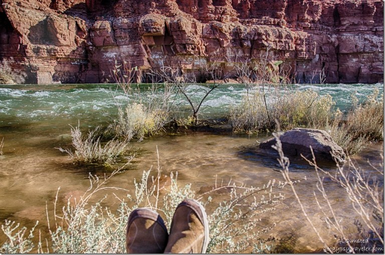 Gaelyn's feet Paria Riffles Colorado River Lee's Ferry Glen Canyon National Recreation Area Arizona