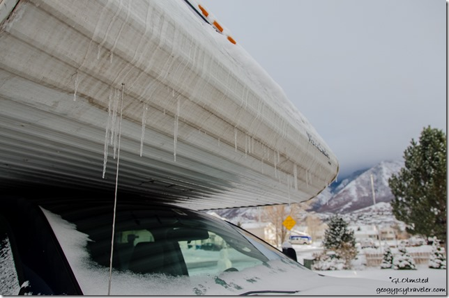 Icicles on camper Spanish Fork Utah