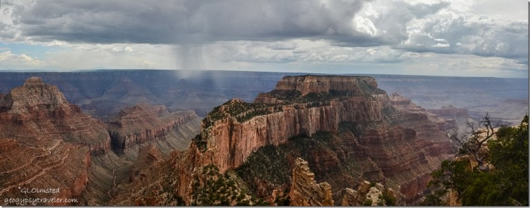 Rain in canyon & Wotan's Throne from Cape Royal North Rim Grand Canyon National Park Arizona