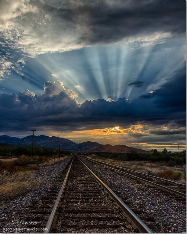 Sunset crepuscular rays RR tracks Kirkland Arizona