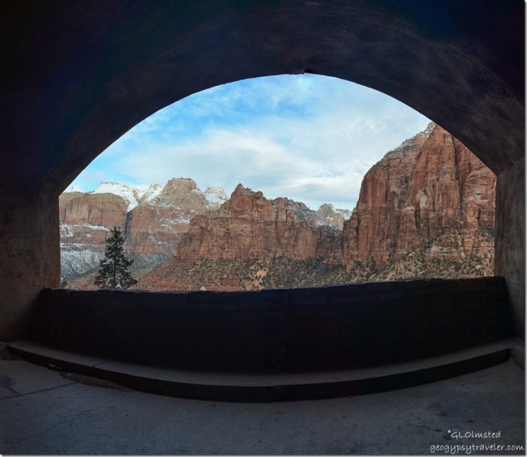 Tunnel window view Zion National Park Utah