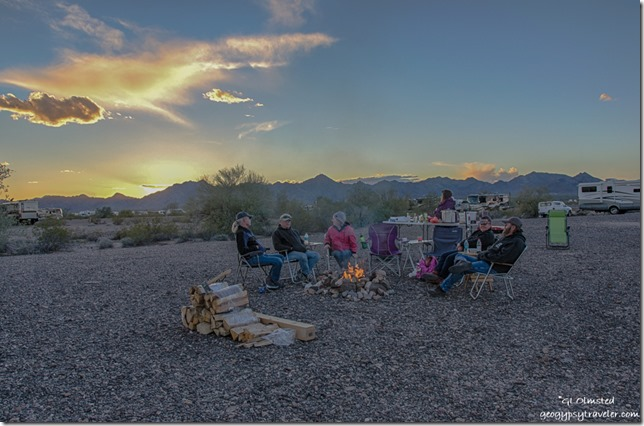 Campfire La Paz Valley BLM Quartzsite Arizona