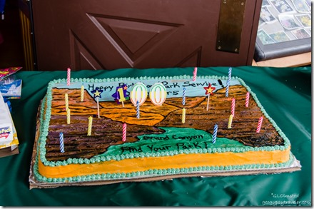 NPS100 birthday cake with candles Visitor Center porch North Rim Grand Canyon National Park Arizona