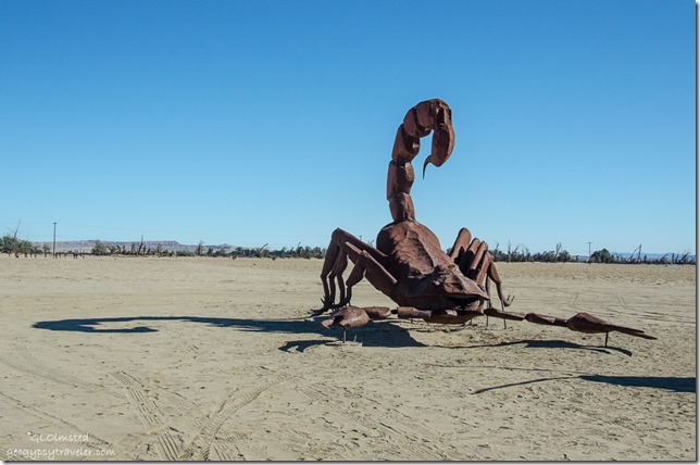 Scorpion metal sculpture by Ricardo Breceda Galleta Meadows Borrego Springs California