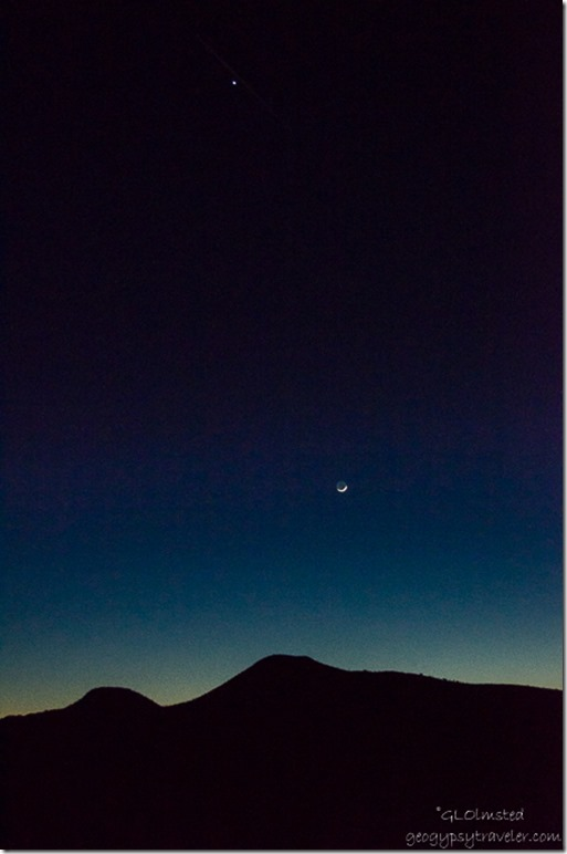 Venus & crescent moon Chocolate Mountains Kofa National Wildlife Refuge Arizona