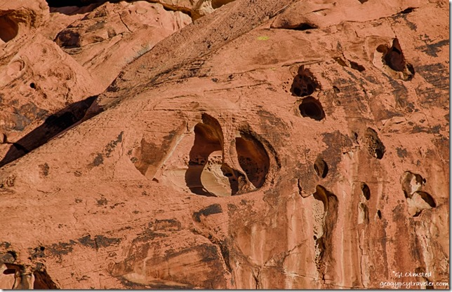 Carved sandstone Arch Rock campground Valley of Fire State Park Nevada