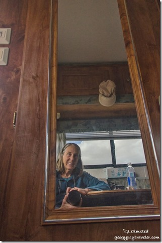 Gaelyn in mirror in camper Anza-Borrego Desert State Park California