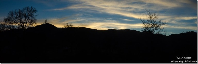 Sunset over Weaver Mountains from RV Yarnell Arizona