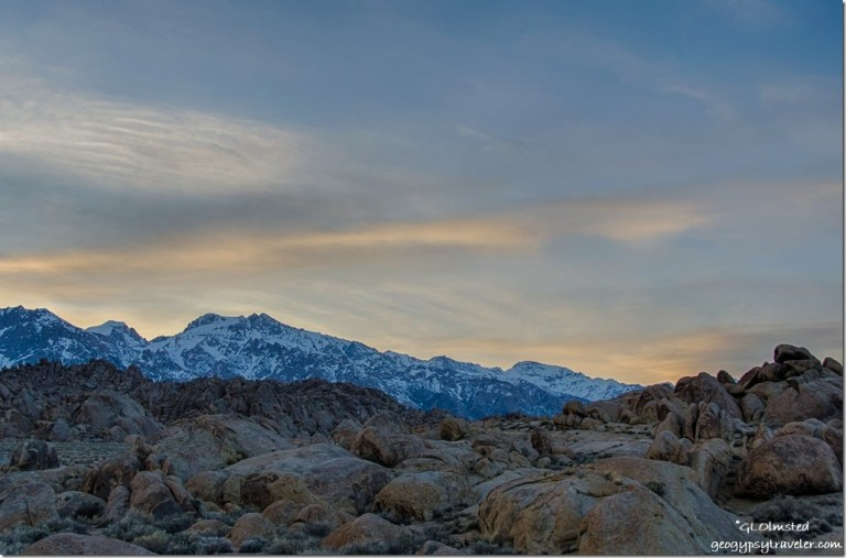 sunset High Sierras Alabama Hills BLM Lone Pine California