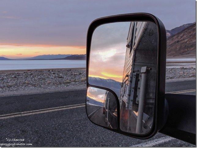 Side mirror sunset Death Valley National Park California