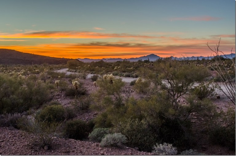 Sunset from KOFA National Wildlife Refuge camp Arizona