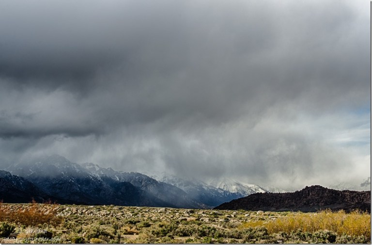 low clouds Eastern Sierras Tuttle Creek campground Lone Pine California
