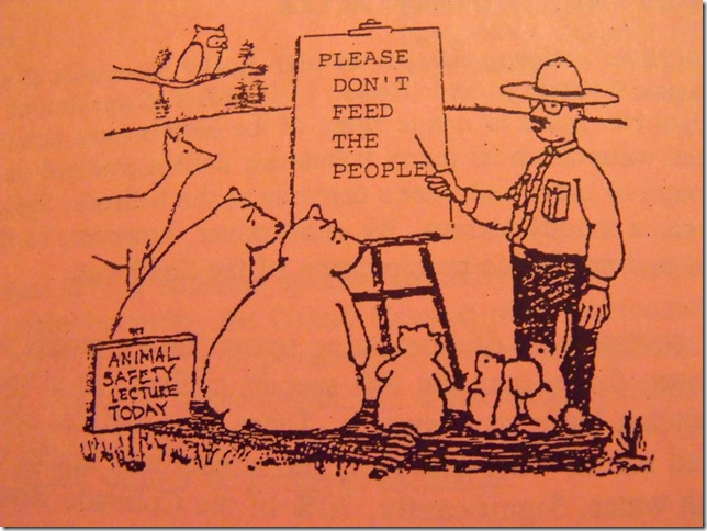 Cartoon Ranger telling animals not to feed the people