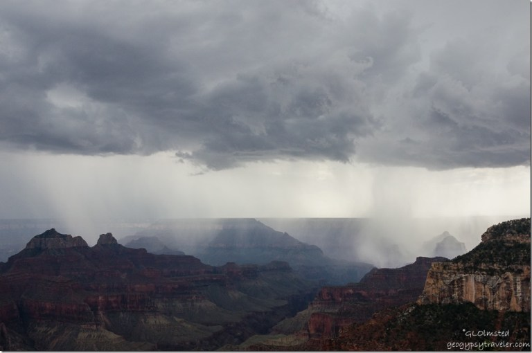 Storm crossing canyon North Rim Grand Canyon National Park Arizona