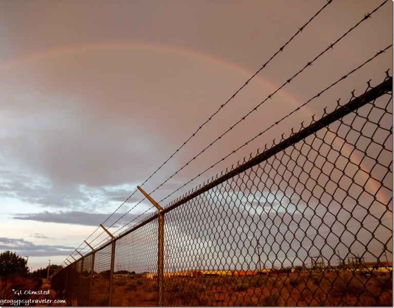 rainbow fence LaQuinta parking lot Page Arizona
