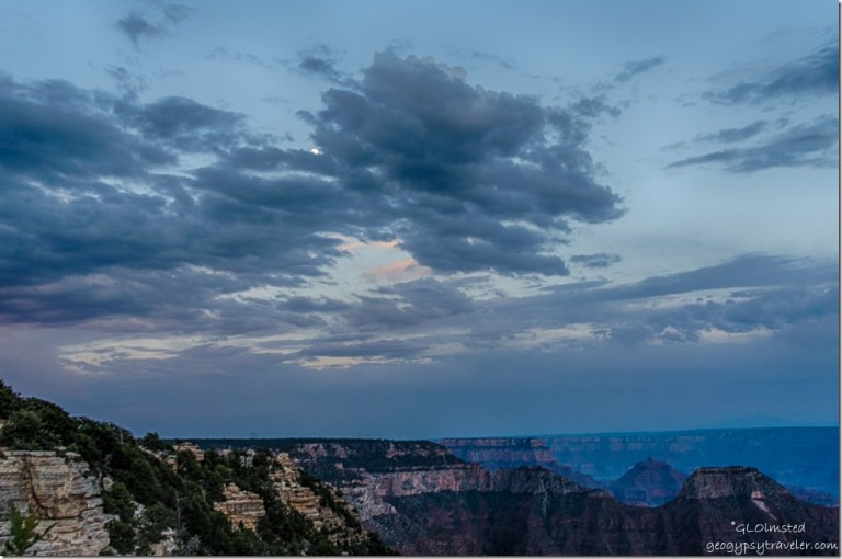 canyon sunset clouds moon from Lodge North Rim Grand Canyon National Park Arizona