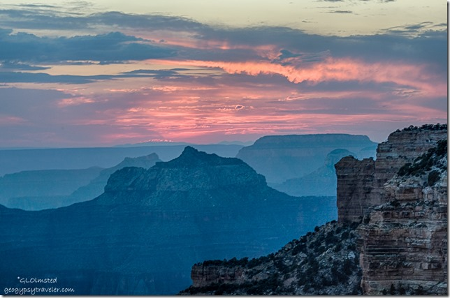 sunset Brahma temple from Cape Royal North Rim Grand Canyon National Park Arizona