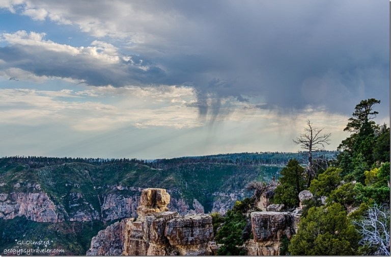 storm clouds Walhalla Plateau canyon boulders from Point Imperial North Rim Grand Canyon National Park Arizona