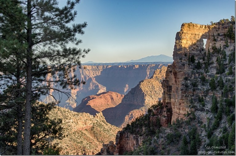 late light Angels Window Cape Royal Road North Rim Grand Canyon National Park Arizona