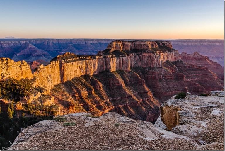 late light Wotans Throne Cape Royal North Rim Grand Canyon National Park Arizona