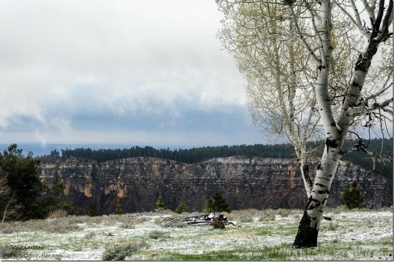 Clouds over Transept Canyon & snow thru RV window North Rim Grand Canyon National Park Arizona