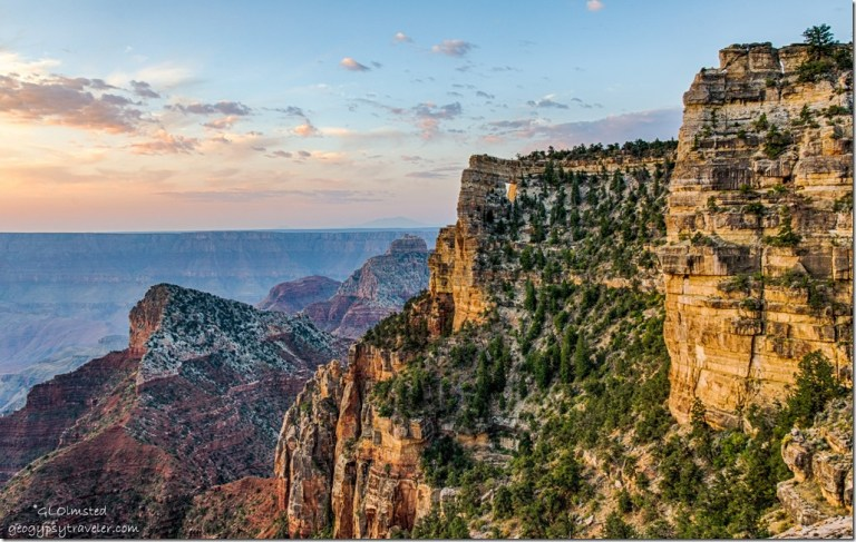 first light sunrise Angels Window Freyas Castle Vishnu Temple Humphrey Peak Cape Royal Road North Rim Grand Canyon National Park Arizona